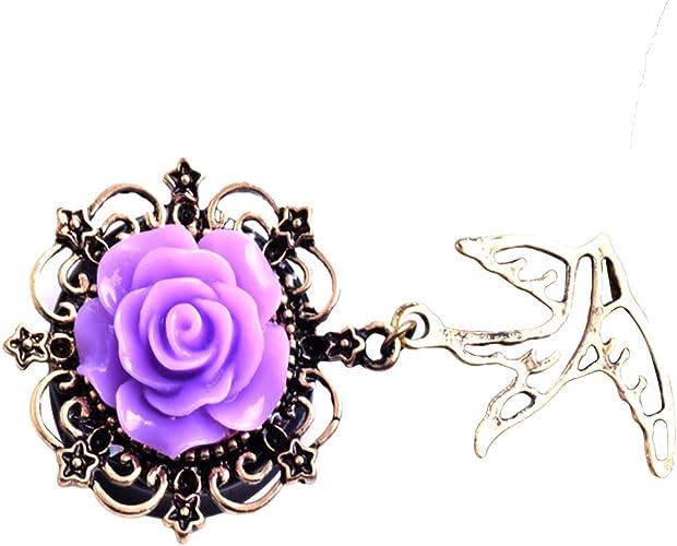 RETRO WOMEN ROSE FLOWER SWALLOW DANGLE EAR GAUGES EXPANDER TUNNEL JEWELRY NICE