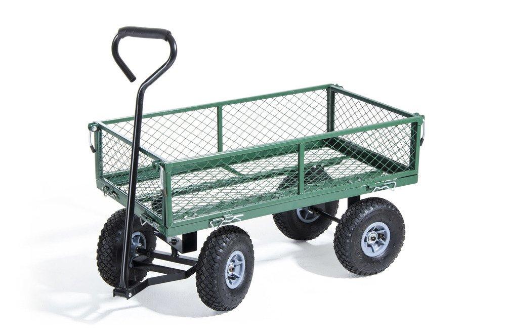 VERDELOOK Carrello Utility in acciaio, portata 150kg, verde, trasporto merce fai da te Biacchi Ettore srl