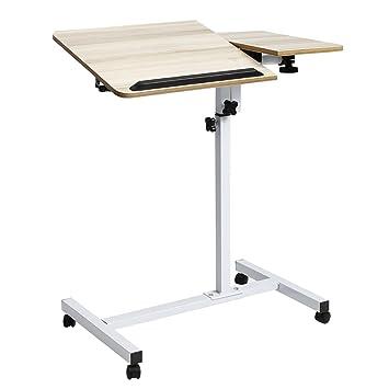 kemanner portátil carrito, para escritorio, ángulo y altura ajustable funda para ordenador portátil soporte con mesa auxiliar, color albaricoque: Amazon.es: ...