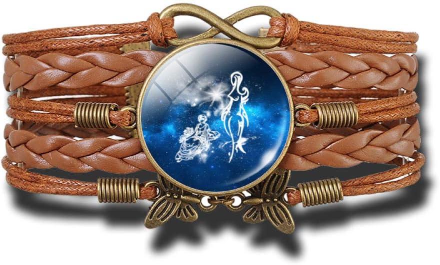 WONS Pulsera,Vendimia Tejidas a Mano Multicapa Cuero Pulsera,12 Constelaciones Esposas por Hombres Mujer Perfecto Regalo/Virgo/Adjustable