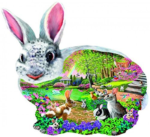 (SunsOut Bunny Hollow Shaped 1000 Piece Jigsaw Puzzle Easter)