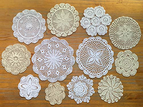 DOUKING 12Pcs Hand Crochet Lace Doilies for Table Decoration Handmade Vintage Round Lace Doilies Placemats, Varied Sizes, 5-12 Inches, Beige and White (12 PCS-A)