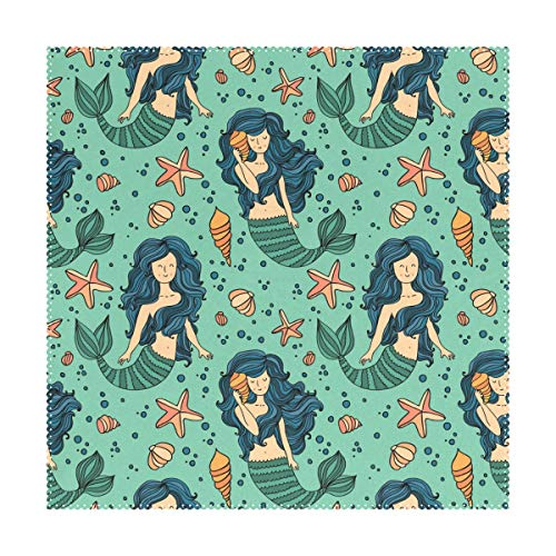 YATELI Placemats Beautiful Mermaid Seamless Pattern Ocean 12x12 inch Heat Resistant Set of 4 Non Slip for Dinning Kitchen