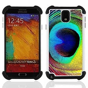 - feather peacock colorful eye bird magic/ H??brido 3in1 Deluxe Impreso duro Soft Alto Impacto caja de la armadura Defender - SHIMIN CAO - For Samsung Galaxy Note3 N9000 N9008V N9009