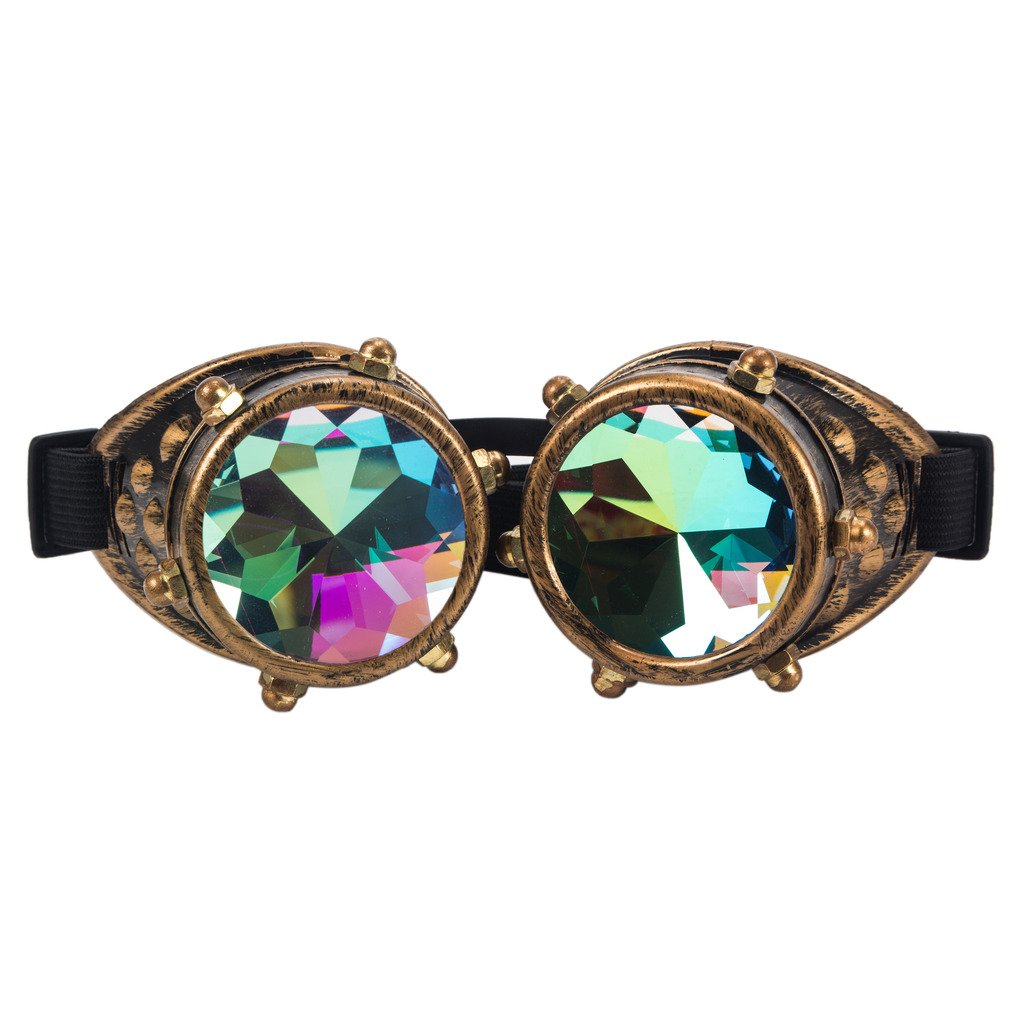 Careonline Festivals Kaleidoscope Gloth Vintage Rainbow Prism Sunglasses Steampunk Goggles Adjustable Bands