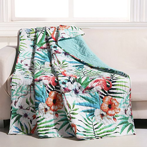 (Barefoot Bungalow Flamingo Quilted Tropical Throw, 50