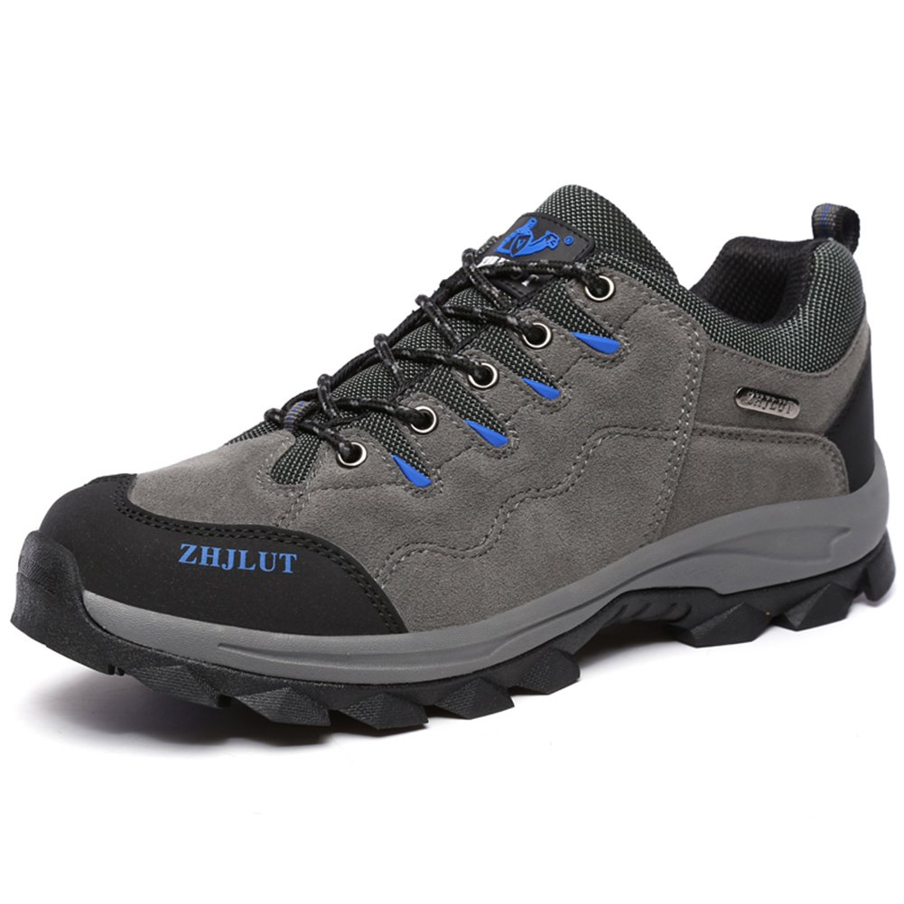 MAIERNISI JESSI Unisex Couple Men's Women's Sports Outdoor Leather Shoe Hiking Boot Backpacking Shoe Gray Label Size 37-Women US6.5-Men US5.5