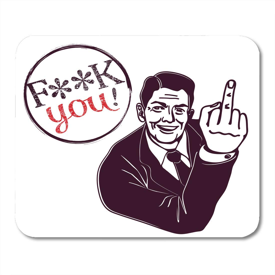 VANKINE Mouse Pads Off Retro Vintage Clipart Fuck You Smiling Man Showing  Middle Finger Sign Sarcastic Grin Swear Mouse pad 9.5