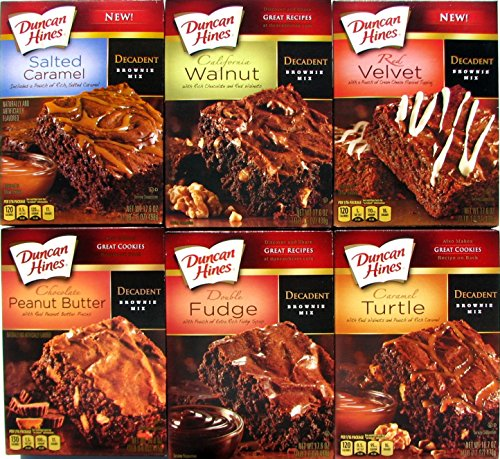 Duncan Hines Decadent Brownie Mix Variety Bundle of 6: Salted Caramel; California Walnut; Red Velvet; Peanut Butter; Double Fudge; Caramel Turtle + Sanitizing Hand Wipes. Care Package, Gift Basket (Pecan Brownie Recipe)