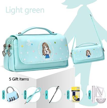 Estuche, Samaz estudiantes gran capacidad lápiz cremallera bolso de la bolsa Papelería Caso Maquillaje bolsa de cosméticos azul claro: Amazon.es: Oficina y papelería