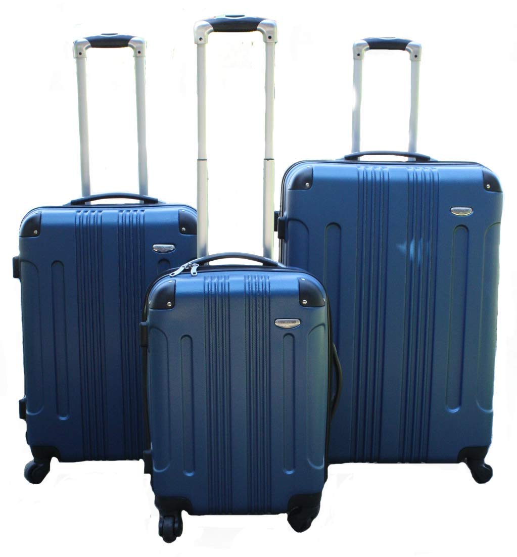 Archibolt CANADA 3-Piece Luggage Set made from ABS - Large, Medium and Carry On Suitcase with Wheels, Lock, and Telescopic Handle (Purple) ICE