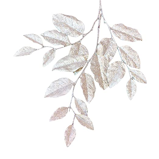 Decorative Champagne Glittered  Faux Leaf Spray - Pack of 3