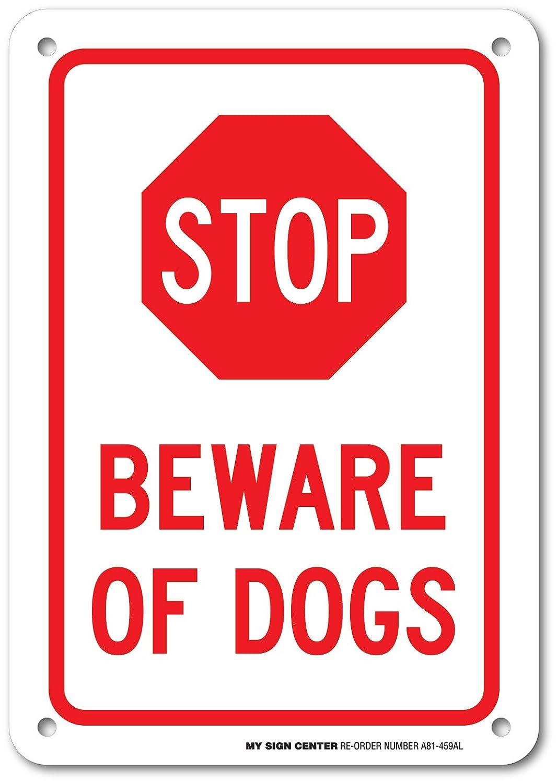 10 X 7 metal-040 Aluminum Rust Free-UV Fade Resistant Beware of Dogs Sign Indoor-Outdoor use-Weatherproof-Heavy Duty-Reflective Sign