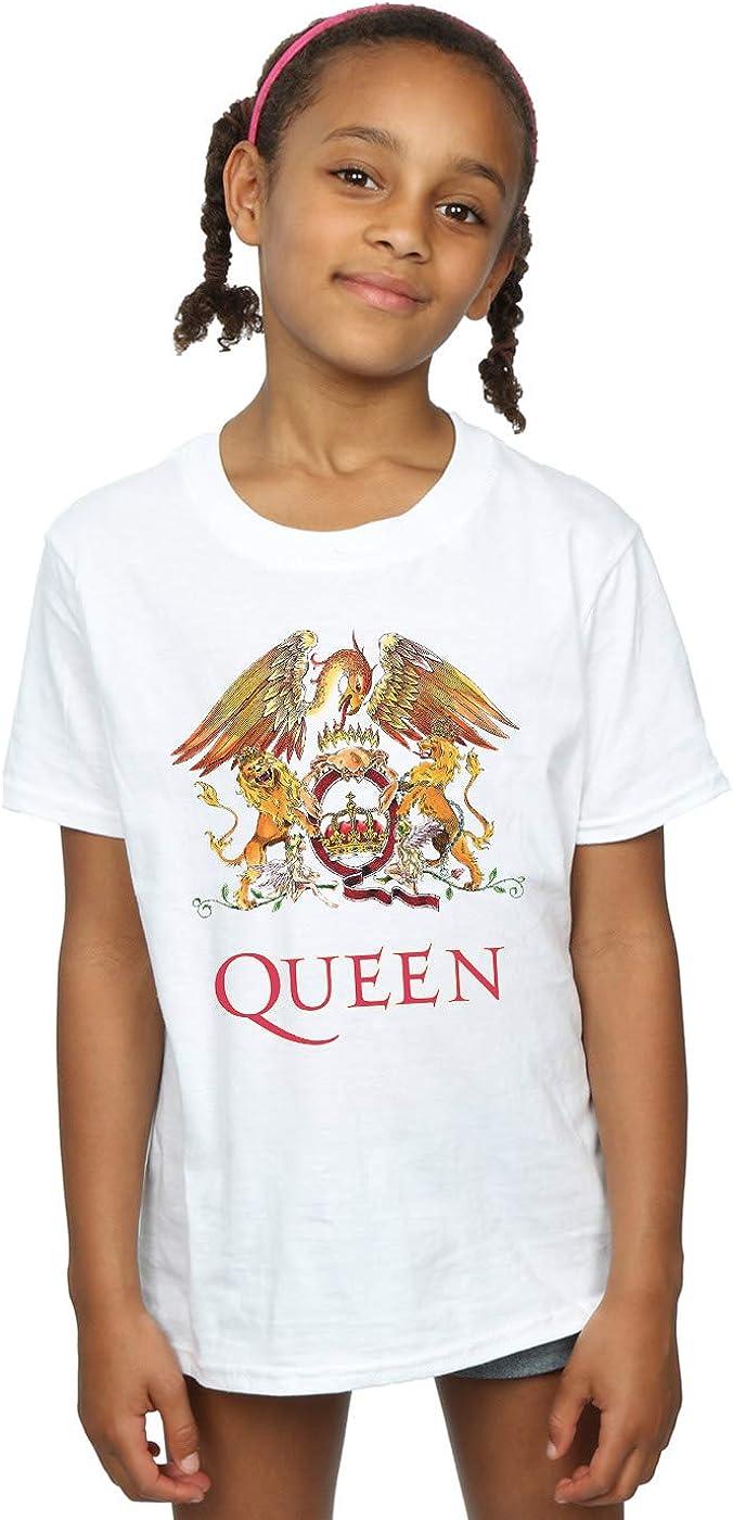 Absolute Cult Queen Bambine e Ragazze Crest Logo Maglietta Bianca 7-8 Years