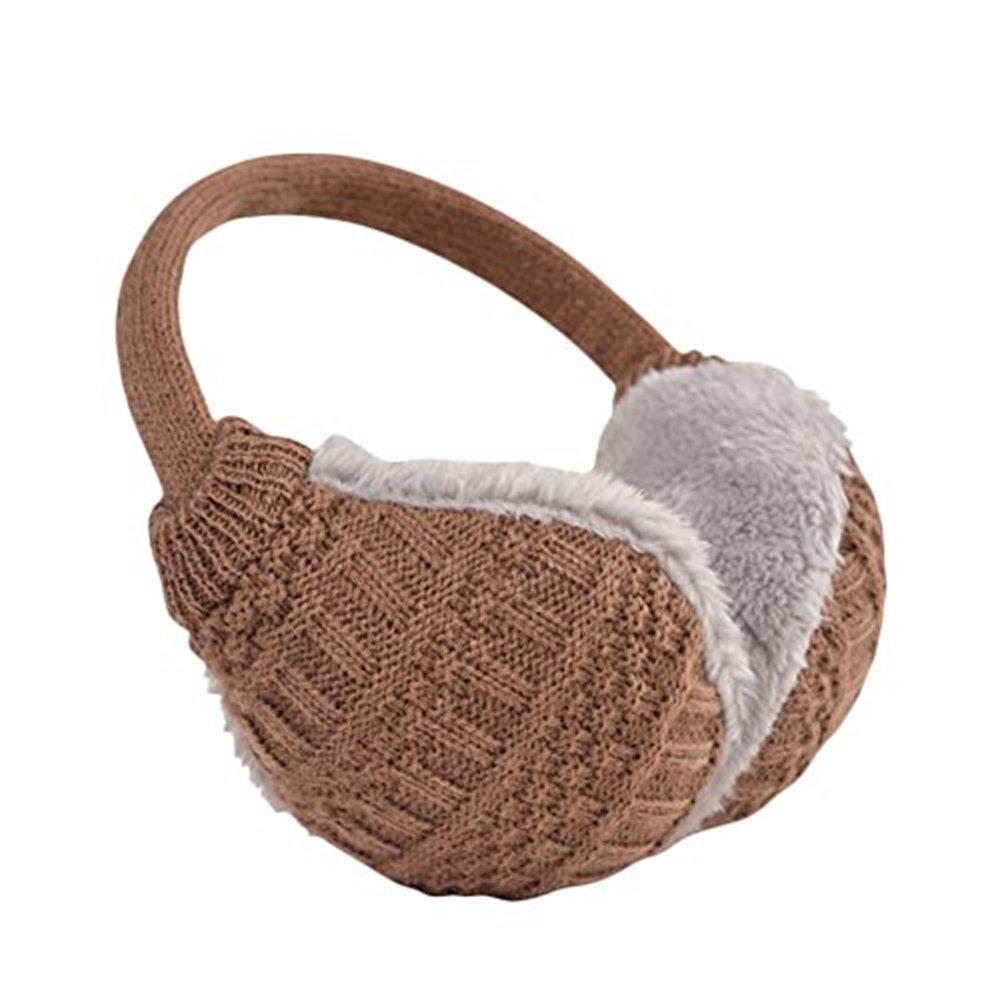 Ear muff Unisex crocheted ear warmers adjustable Winter Fleece warm earmuffs (Coffee)