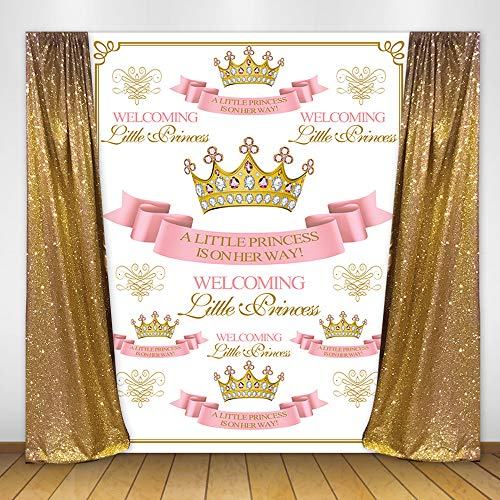 Mehofoto Princess Baby Shower Backdrop 5x7ft Vinyl Royal Pink Crown Background Baby Girl Baby Shower Party Banner Supplies - Princess Pink Girl