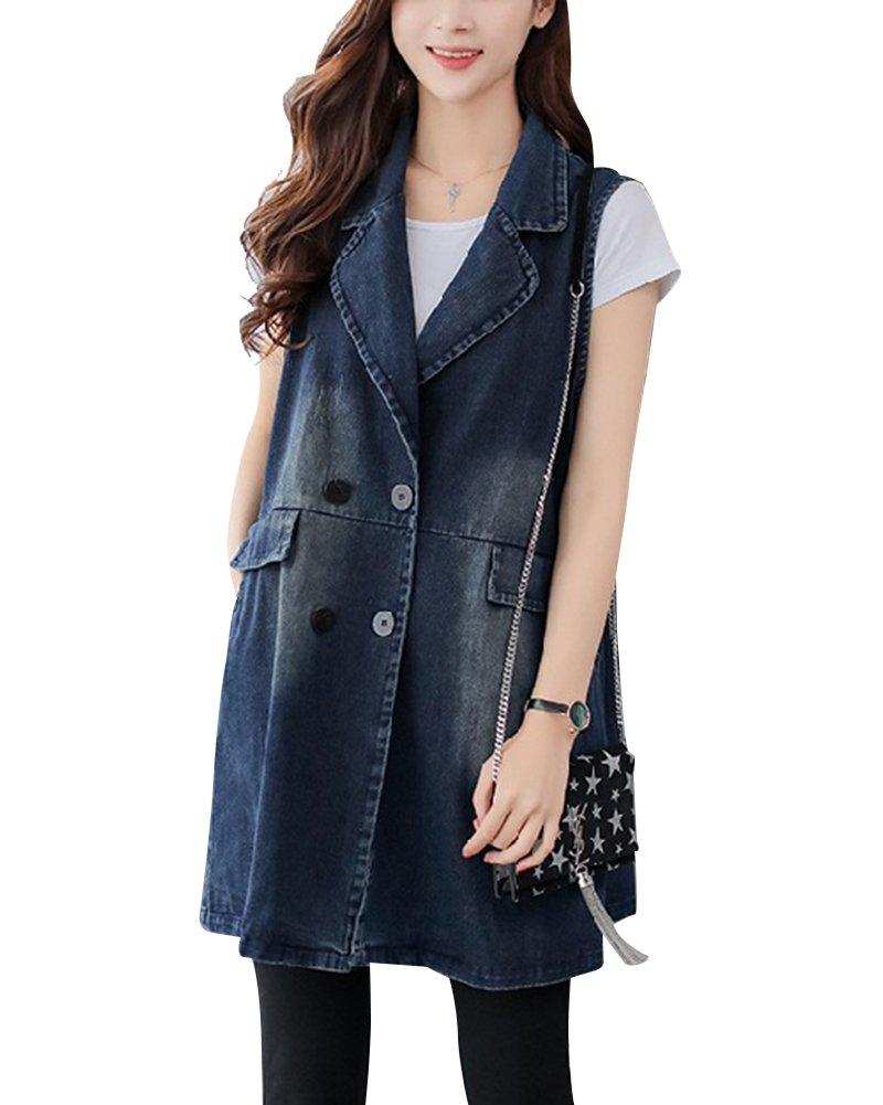 QitunC Women's Lapel Sleeveless Jean Jacket Waistcoat Ripped Distressed Long Denim Vest Outwear