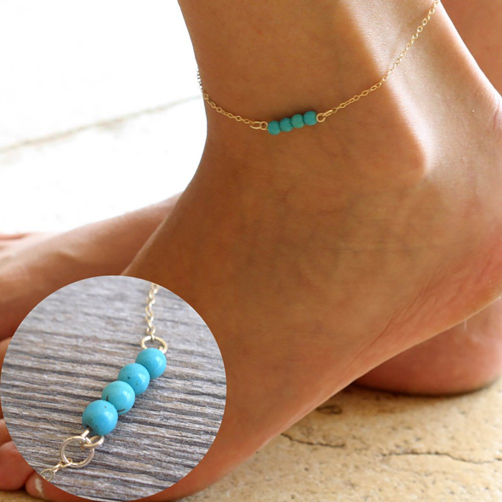 AkoMatial Women Handmade Dainty Anklet, Dainty Beach Cute Ankle Bracelet Adjustable Wafer Layered Turquoises Foot Chain for Women (Silver)