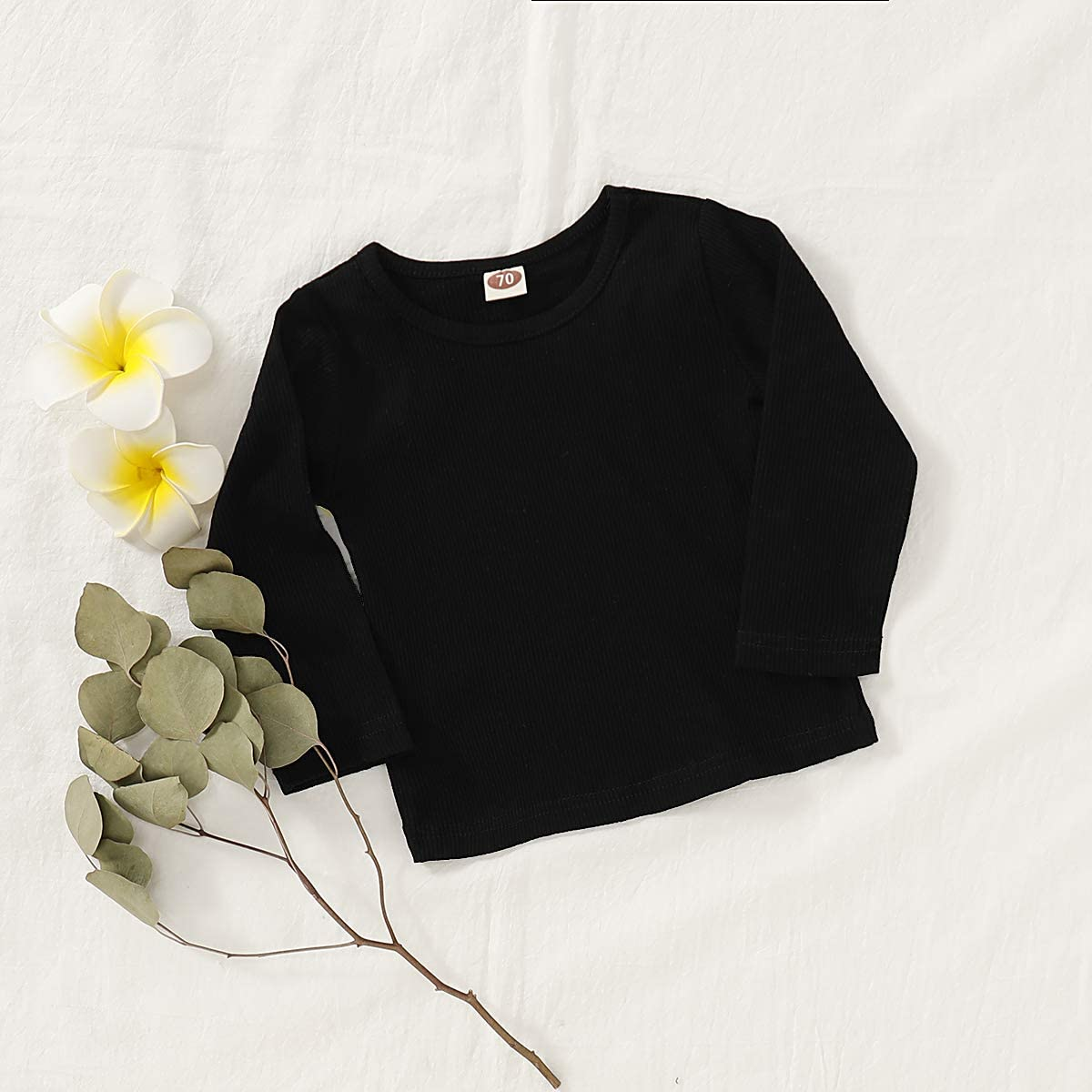 Happy Town Infant Baby Girl Boy Solid Color T-Shirt Long Sleeve Cotton Blouse Fall Casual Shirts