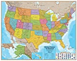 Hemisphere USA Wall Map - 48'' x 38'' - UP-TO-DATE Cartography & Laminated for use with Dry Erase Marker - Perfect for Home, Office and Classroom