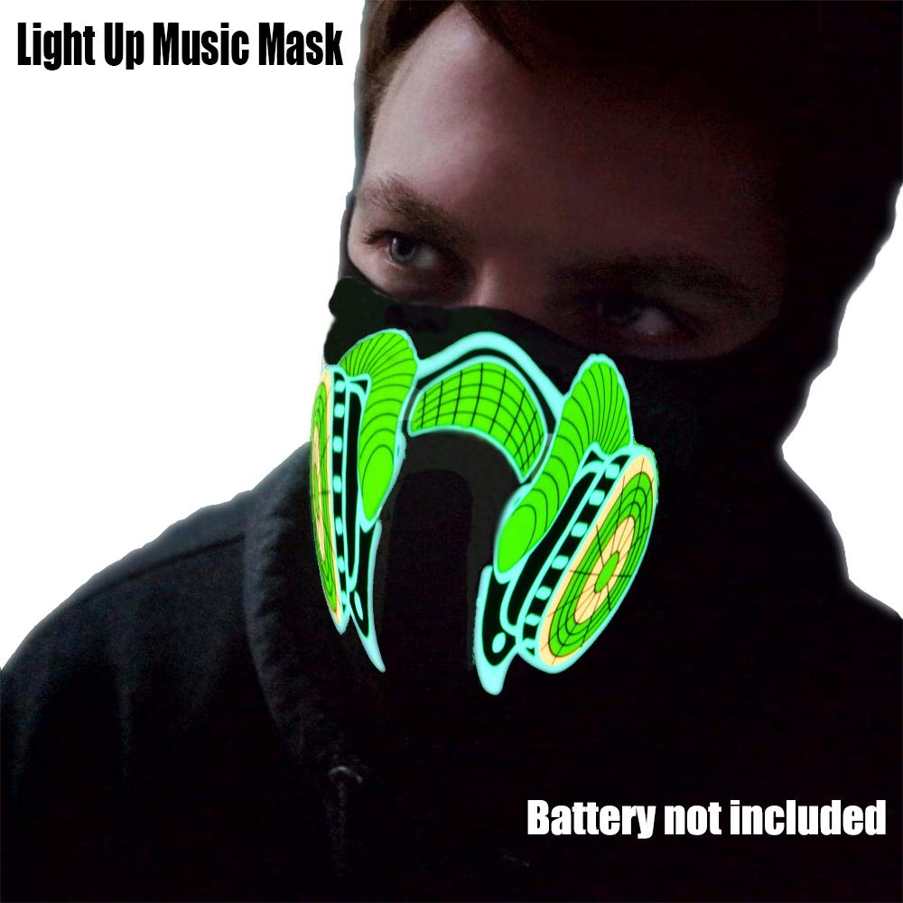 HITOP Light Up Mask,Led Mask with Music Sound Activated for Dancing,Riding,Skating,Party and Any Festival