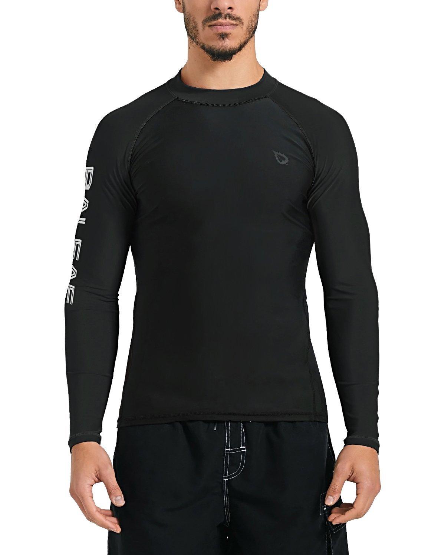 Baleaf Men's Basic Long Sleeve Rashguard UV Sun Protection Athletic Swim Shirt UPF 50+ Black XXL by Baleaf