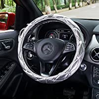 Sino Banyan Steering Wheel Cover,Fluorescence with Crystal Crown,Anti Slip Cover,Silver