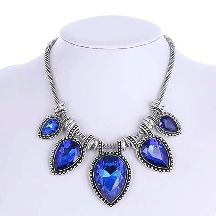 Chunky Statement Necklace Short Sapphire Necklace Teardrop Diamond Necklace Collar Costume Jewelry  sc 1 st  Amazon.com & Amazon.com: Chunky Statement Necklace Short Sapphire Necklace ...