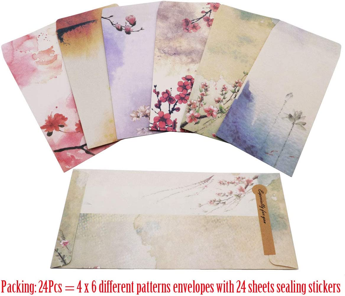 48 PCS Assorted Color Letter Papers and 24 PCS Envelopes SUNSWEI Writing Stationary Paper Set Color- A Letter Writing Paper Letter Sets