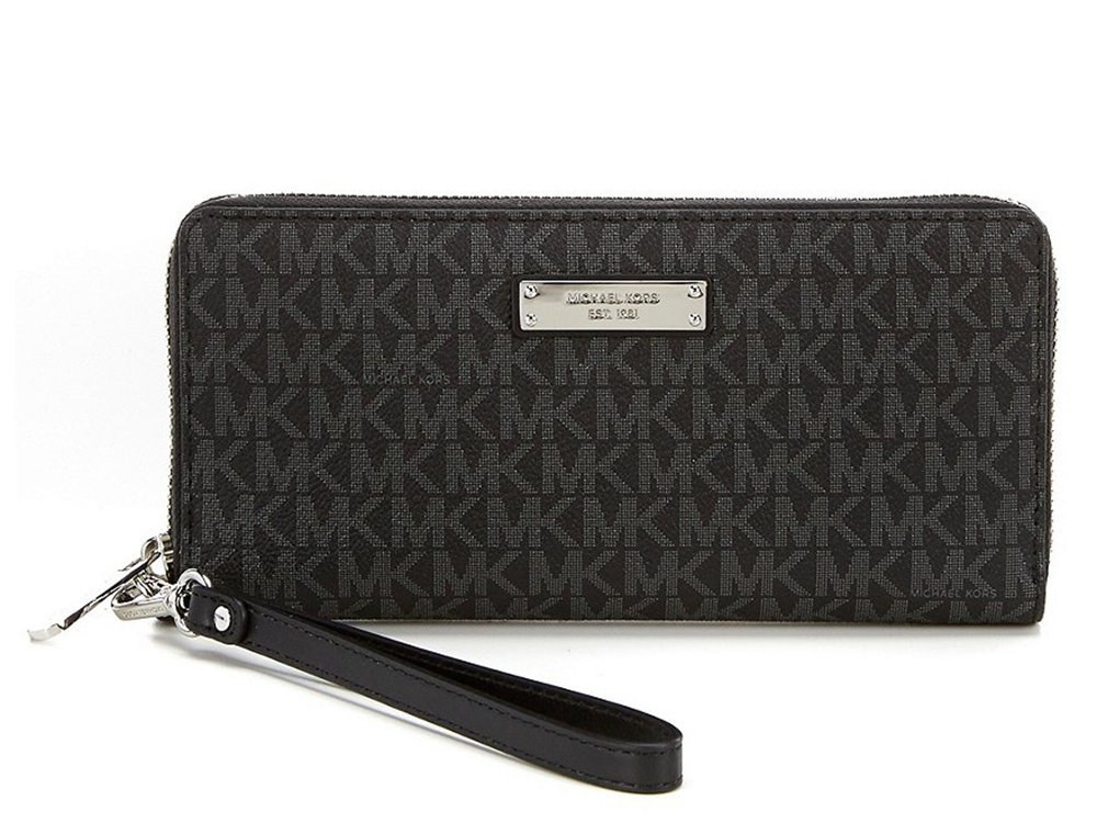 Michael Kors Jet Set Signature Travel Wristlet, Black