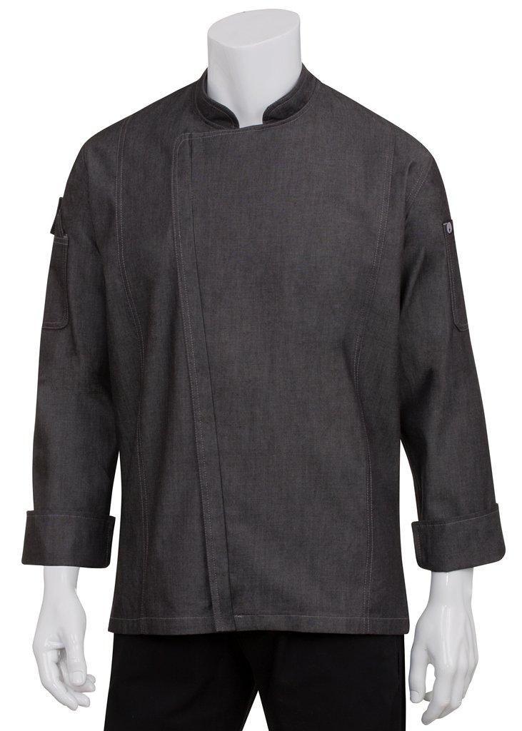 Chef Works(シェフワークス) グラマシー デニム ジッパー長袖コックコート 【メンズ】 B01C02NEZ8 3XL【適応胸囲142㎝-147cm】|ブラック