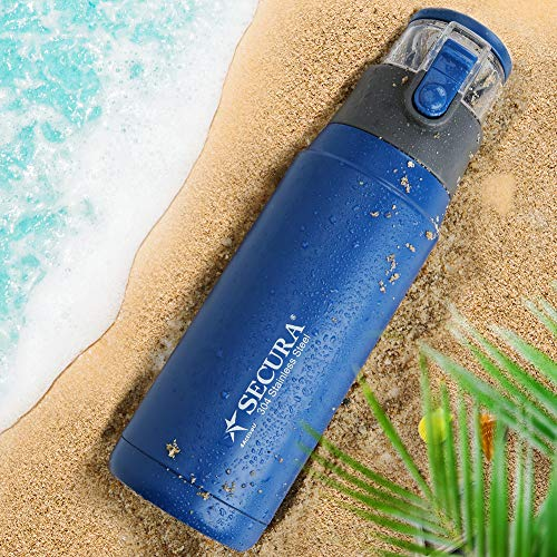Secura Vacuum Insulated 304 Stainless Steel Water Bottle with Handle, 650ml 22oz, Blue