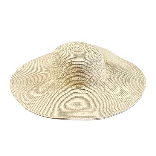 1c5943bb242 Floppy Wide Brim Straw Hat Women Summer Beach Cap Sun Hat (Beige) at ...