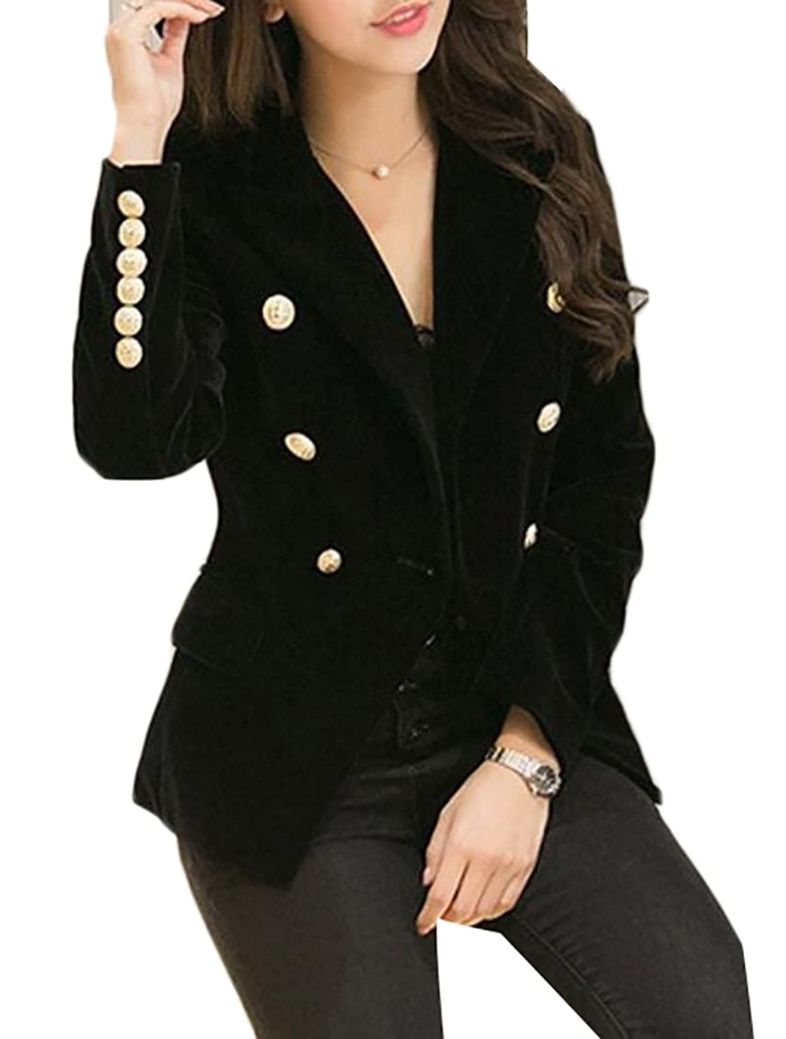 CRYYU Women Slim Velvet Blazer Jacket Double Breasted Simple Blazers free shipping