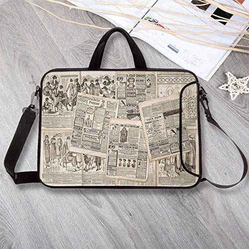 Old Newspaper Decor Printing Neoprene Laptop Bag,Nostalgic Aged Pages with Antique Advertising Fashion Magazines Print Decorative Laptop Bag for 10 Inch to 17 Inch Laptop,8.7