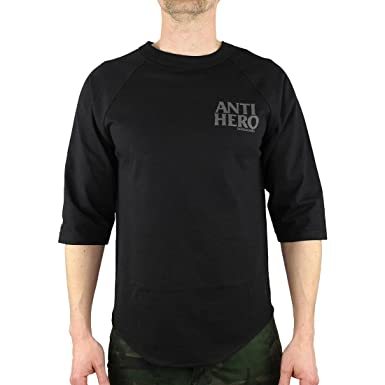 e996b67e Anti Hero Lil Black Hero 3/4 Raglan T-Shirt - Black/Grey Reflective:  Amazon.co.uk: Clothing