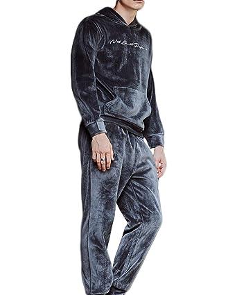Pijamas de otoño e invierno de los hombres traje de polar de coral manga larga (