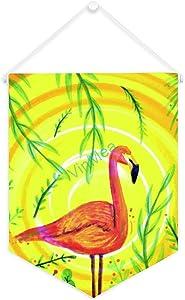 VinMea Canvas Hanging Flag Tropical Red Ostrich on Yellow, Banner Flag Canvas Hanger Print Wall Art Home Decor 12