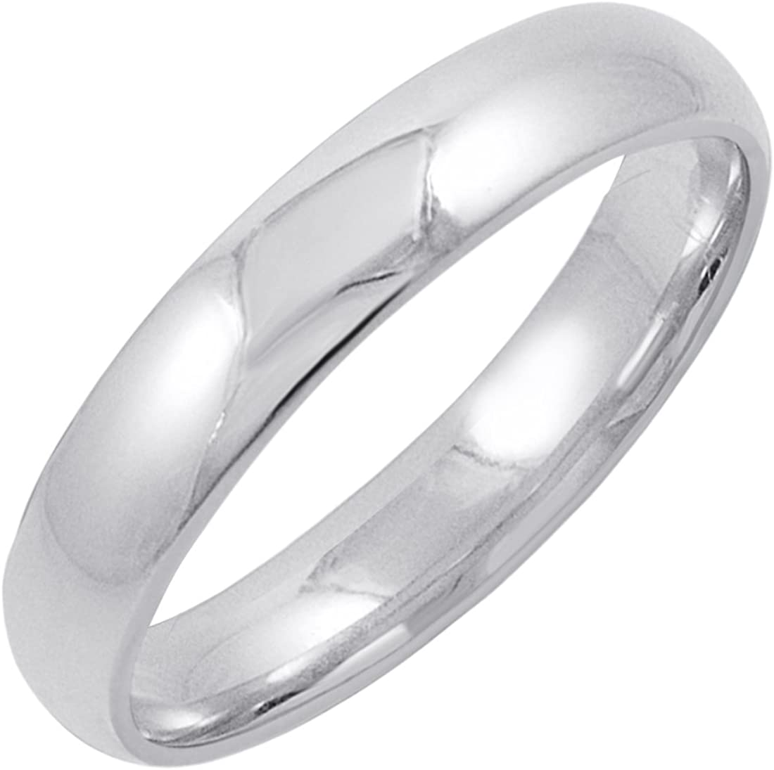 Men's 14K Yellow or White Gold Solid 4mm Comfort Fit Plain Wedding Band (Available Ring Sizes 8-12 1/2)