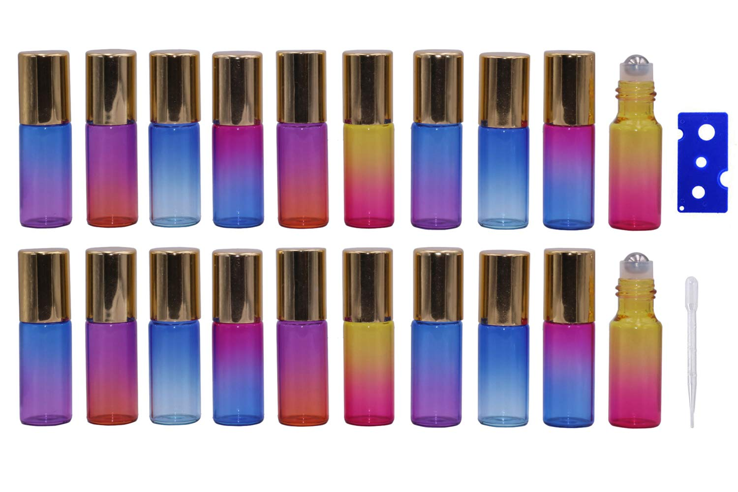 5ml Rainbow Gradient Color Glass Essential Oil Roller Bottles 20 Packs Empty Aromatherapy Perfume Rollerball Bottles Refillable Sample Roll On Bottles Vials with gold cap, Opener and Dropper Included Wilotick