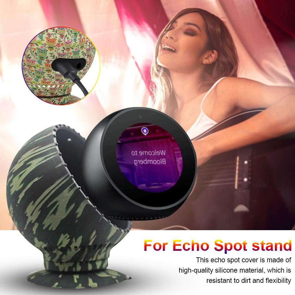 Soporte de Silicona Ajustable Protector Funda Funda Chuck Soporte de Aluminio Fijo Soporte para Echo Spot 360 Rotaci/ón jinclonder Funda para Echo Spot Spearker