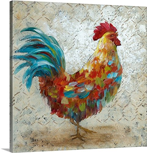 Nan F Premium Thick-Wrap Canvas Wall Art Print entitled Fancy Rooster I (Colorful Chicken)
