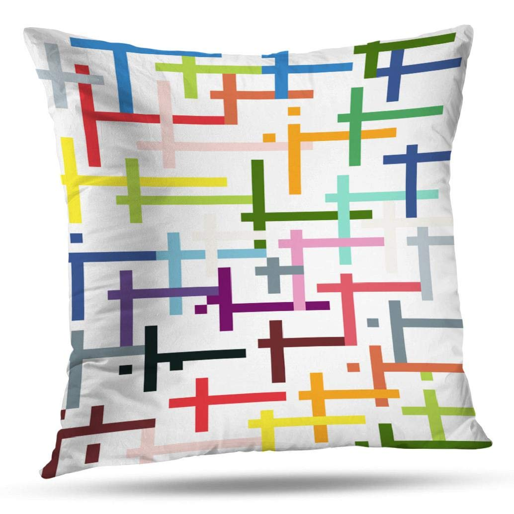 Pakaku Throw Pillows Covers for Couch Bed 18 x 18 inch,Aqua Chartreuse and Grey Abstract Art Home Sofa Cushion Cover Pillowcase Gift Decorative Hidden Zipper Design Cotton and Polyester