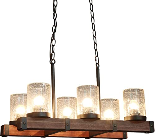 TABLIGHT Birch Wood Antique with Double Glass Lodge Hanging Pendant Light Decorative 6 Lights Ceiling Light for Kitchen