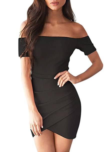 8e237b3819 ACHICGIRL Women s Off Shoulder Bodycon Irregular Dress at Amazon ...