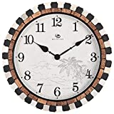 Jedfild Creative simple coconut shell Mediterranean bedroom living room wall clock quartz clock garden round the clock