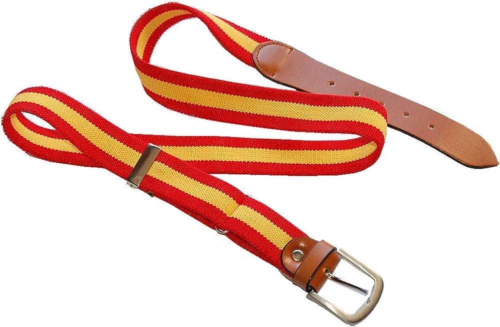 RK - Cinturon Bandera de España Lona Elastica y Piel de vacuno, Extensible: Amazon.es: Ropa y accesorios