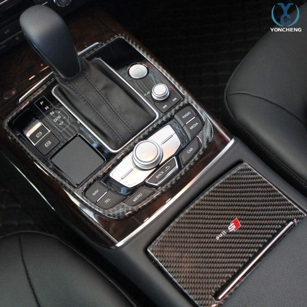 GLEETIEZ Copertura del Pannello del Cambio in Fibra di Carbonio Copertura Decorativa Accessori per Auto Accessori Portabicchieri Pannello Adesivo Adesivo 3D per Audi A6 C7 2012 2013 2014 2015 2016