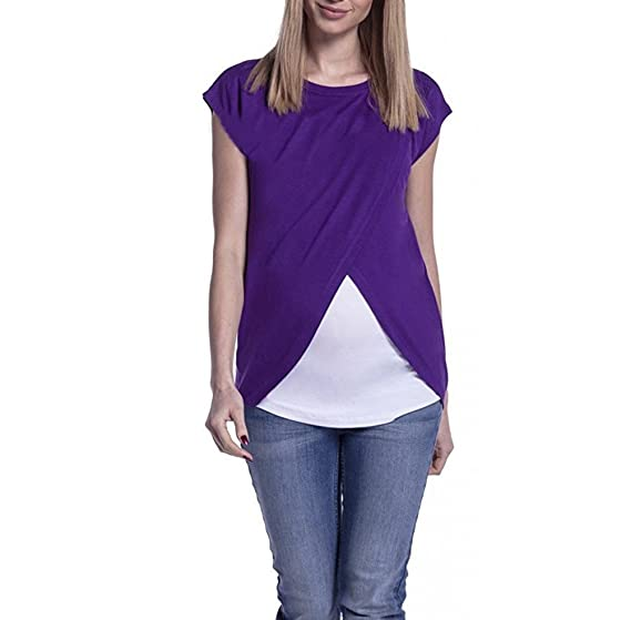 Camisetas Mamá Mujer Ropa Premamá Lactancia Verano T-Shirt De Doble Capa Maternidad Tops Ropa