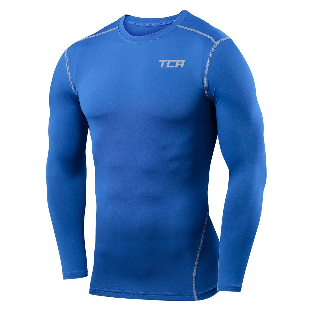 Boys TCA Pro Performance Compression Shirt Long Sleeve Base Layer Thermal Top - Royal Blue, S